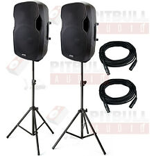 "Gemini AS-15P 15"" Powered Speaker Pair + Stands + Cables+ PA Package Bundle"