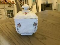 Vintage Westmoreland Milk Glass Pink Roses Covered Dish