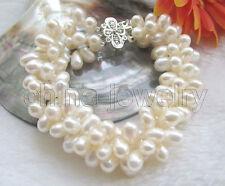 "B5720-8"" 3row 7-8mm white baroque freshwater pearl bracelet- white GP clasp"