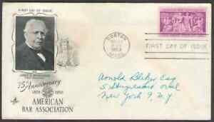 US. 1022. 3c. American Bar Association, 75th Anniv. Art Craft FDC. Used. 1953