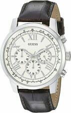 Guess Men's Dark Brown Leather Chronograph Watch U0380G2 BNWT $125 MSRP