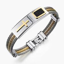 Fashion Men 3 Rows Wire Chain Bracelet Punk Stainless Steel Cross Bangle Jewelry