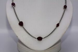 $600 18.35CT NATURAL MIXED CUT RED RUBY BY THE YARD NECKLACE .925 SILVER