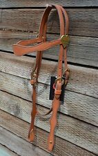 "CA Equine 5/8"" Light Russet Scalloped Browband Headstall Brass Hearts Conchos"