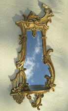 "Ornate Rococo Gilt Wood Gesso French Nouveau Italian Regency 32"" Mirror w Shelf"