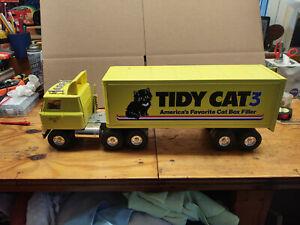 "LARGE Vintage Ertl Tidy Cat TRACTOR TRAILER TRUCK - METAL - NICE 22"""