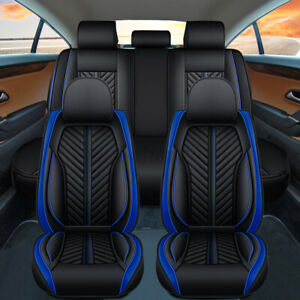 5D PU Leather Full Set 5 Seat Car Seat Cover Front Rear Deluxe Auto Cushion Blue