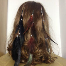 3x Bohemian Women Girls Fashion Feather Clips in on Hair Extensions Hair Piece