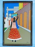 EXQUISITE PEDRO PELOGGIA of BRAZIL ORIGINAL ART SIGNED NAIVE PAINTING FRAMED