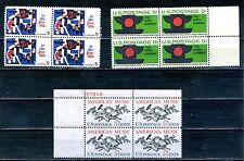 USA  3 Block of 4 1964 & 1965 -  SG No 1234  1241  & 1254 MNH