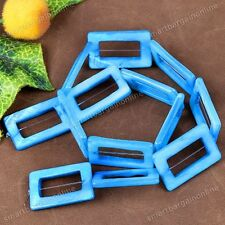 Natural MOP Shell Light Blue Hollow Rectangle Loose Bead Fit Jewelry Making DIY