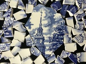 Broken China Mosaic Tiles BLUE & WHITE ~Vtg Liberty Blue 80+ Pc + FOCAL