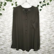 Lane Bryant olive green button down blouse 26 / 28 Plus Size