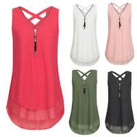Women Casual Sleeveless Tank Top Cross Back Layed Zipper V-Neck T Shirts Tops