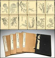 1880 Nanga shoho Chrysanthemums Picture Japanese Original Woodblock Print 4 Book