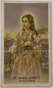 St Maria Goretti, Vintage Bi-fold Holy Devotional Life Story Prayer Card.