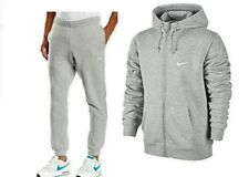 Nike Foundation 2 Mens Fleece Hooded Sports Jogging Full Tracksuit Top & Bottom Gray S