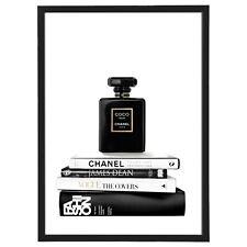 Designer Fashion Noir Bookstack Perfume Framed Print