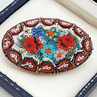 Beautiful Vintage 1940s Italian Large Oval Micro Mosaic Flower Brooch Pin