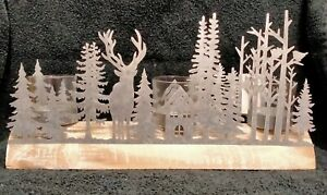 Woodland Scene Candle / Tealight Holder Wood Base with Metal Scene Stag Forest