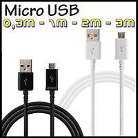 CABLE MICRO USB DE DATOS Y CARGA PARA MOVIL TABLET CARGADOR 0,3m 1m 2m 3m metros