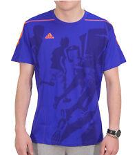 adidas Climalite Mens Running Top Blue Graphic Print Short Sleeve T-Shirt S M