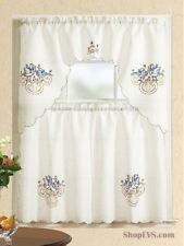 Duck Embroidery Kitchen Curtain with Swag and Tier Set 36 In