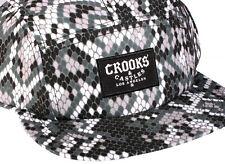 Nuevo Crooks   Castles Piel De Serpiente Sidewinder Python 5 Paneles Gorra  Sombrero Gorro Strapback Raro 874371ec103