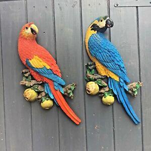 Pair Macaw Flat Back Parrot Wall Hang Bird Garden/Indoor Resin,Glass eyes, 43 cm