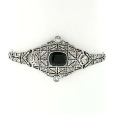Antique Edwardian 18k Gold Platinum Black Onyx & Rose Cut Diamond Belly Bracelet