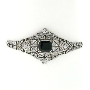 Antique Edwardian 18k Gold Platinum Black Onyx & Rose Cut Diamond Belly Bracelet