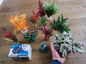 JOB LOT Aquarium Fish Tank Decorative plants Items REAL CORAL,  pump