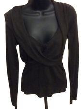 New $238 Elie Tahari Bergdorfs Brown Criss Cross Sweater Size Small