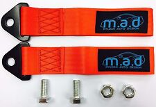 2 x RED M.A.D 280MM TOW STRAP LOOP RECOVERY HOOK TRACK DAY RACE CAR DRIFT RALLY