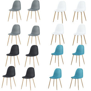Set of 4 Dining Chairs Retro Metal Legs Office Kitchen Living Room Lounge Chair