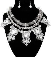 Bling RHINESTONE DANGLE MESH CHAIN Statement Necklace & Earrings SET ~ Silver