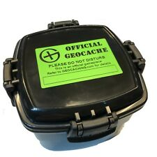 Large Waterproof Quad Clip Lock Black Geocache Container logged and Labelled
