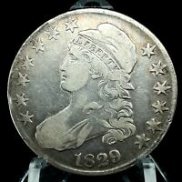 1829 Capped Bust Half Dollar  Lettered Edge Scarce Date Silver US Coin #3