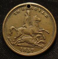 1837 TO HANOVER QUEEN VICTORIA BRASS GAMING TOKEN 23 mm PIERCED