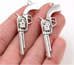 Gun Revolver Shape Silver Plated Pendant Black Leather Rope Necklace Boy Man UK