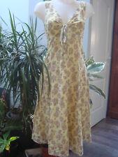ALESSANDRA  robe debardeur imprimée coton jaune beige doublée Taille 36