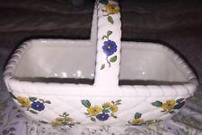 Vintage Elizabeth Arden Ceramic Basket Floral Decor - Made In Japan