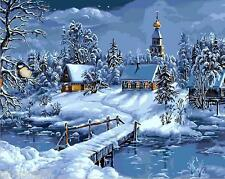"""16X20"""" DIY Paint By Number Kit Oil Painting On Canvas Winter Moon Snow Chalet"""