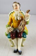 Antique Volkstedt Porcelain Small Figurine - Reclining Violinist
