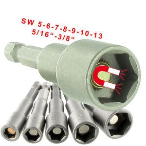 """Stecknuss 6-kant SW 5 6 7 8 10 13 mm magnetisch Bit 1/4"""" Steckschlüssel Einsatz"""