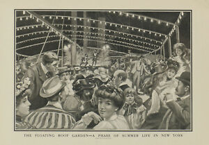 """Harper's Weekly: """"FLOATING ROOF GARDEN PHASE OF SUMMER LIFE IN NEW YORK"""""""