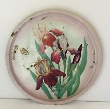 """Vintage Tin Tray Tole Ware Metal Floral Flowers 13"""" Round Serving Retro"""