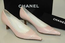 NEW CHANEL Pumps Leather Pale Pink White Kitten Heels CC Logo Shoes 38.5 39.5