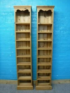 1x NARROW CHUNKY SOLID WOOD BOOKCASE SHELVES H181 W36 D21cm - SEE OUR SHOP