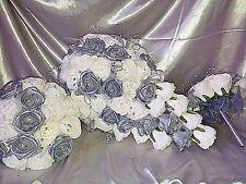 Ivory & silver rose wedding flower package teardrop bridesmaids bling pearls